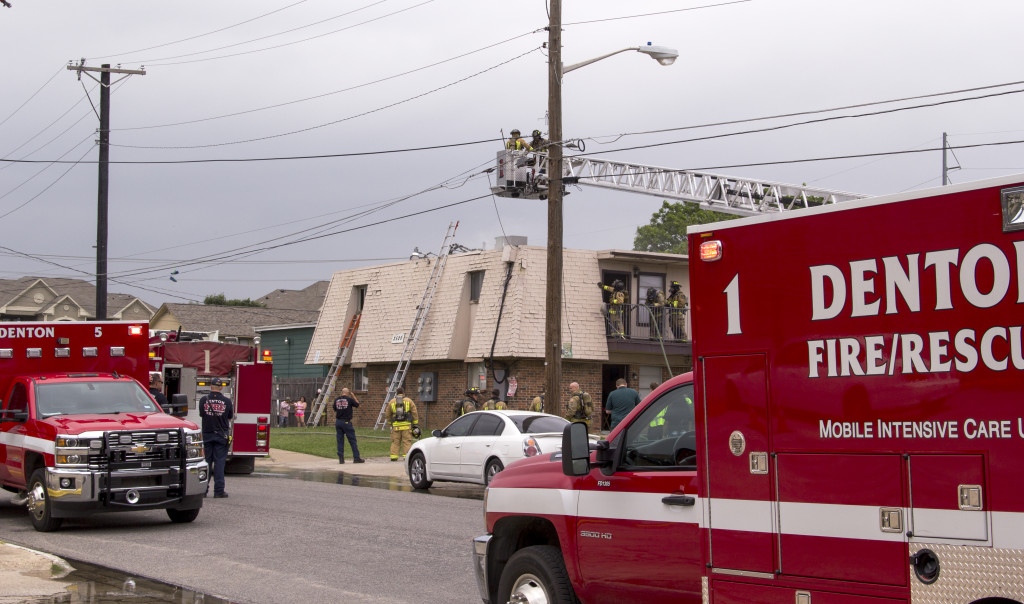 Denton Fire Rescue respond to a fire around 11:45AM Wednesday inside the Woodvine Apartment Complex on Charlotte and Avenue H.