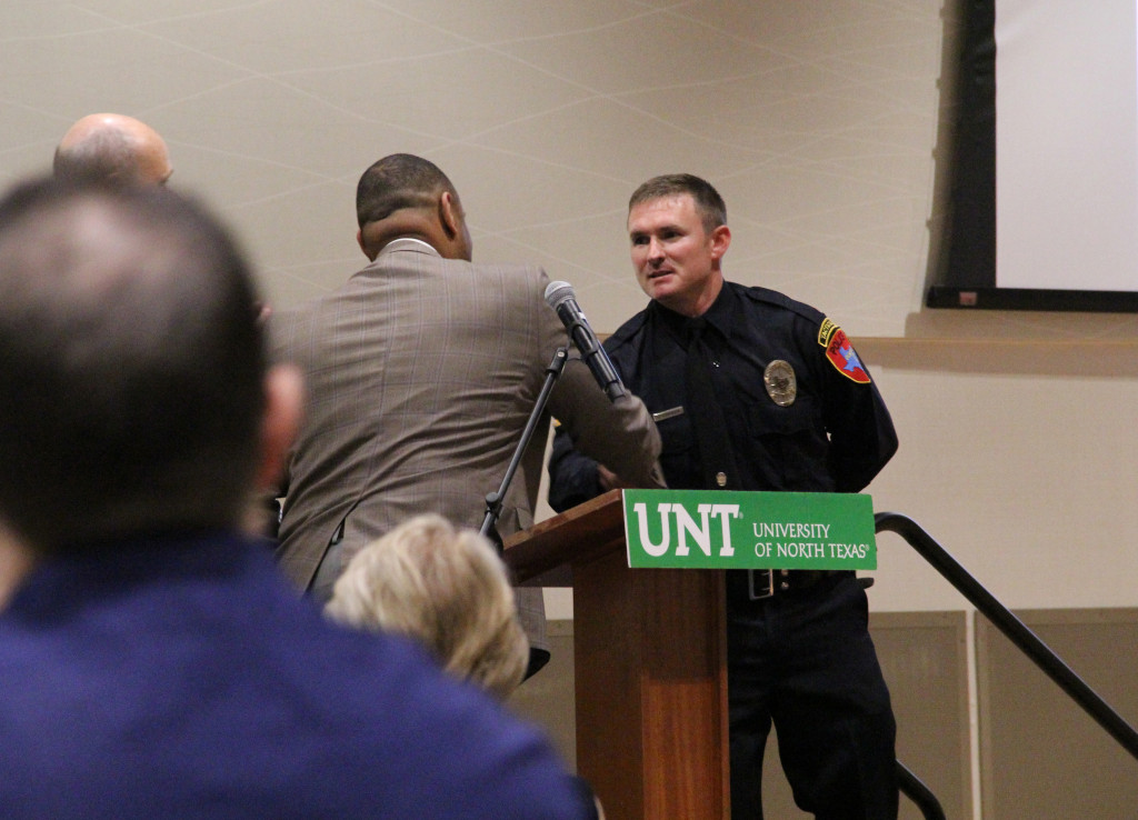 Jared Stevenson received a medal of valor May 19th in the Union at UNT during the 18th Annual Denton Police Department Awards and Appreciation Banquet. Stevenson was recognized for his off-duty response to a drowning victim who's vehicle had fallen off a bridge into Lewisville Lake. He was able to pull the victim onto shore, however the victim had died from the impact of the crash.