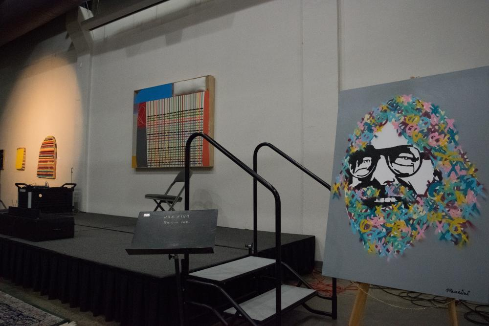 Graffiti-inspired art pieces were provided complimentary by local artists to be auctioned off in benefit for the Greater Denton Arts Council. Matt Payne | Features Editor