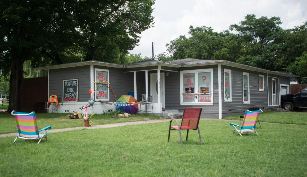 "Patrick Burke's, a ""flat-earther"" and avid ""space-junkie"", house sits on the corner of Panhandle and Malone. Burke has decorated his lawn and home to show his beliefs, however, Denton Community Improvement Services has stated he is in violation of three city ordinances. Hannah Breland 