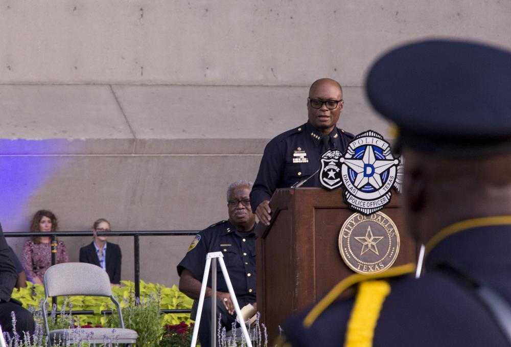 Dallas Police Chief David Brown speaks at a vigil held for the five dead and 11 injured police office who were ambushed on Thursday evening. He spoke words of each officer and gave memories of each. Hundreds of citizens were in attendance for the event.