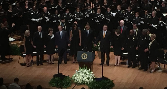 President Obama, other leaders, deliver powerful tribute to fallen officers
