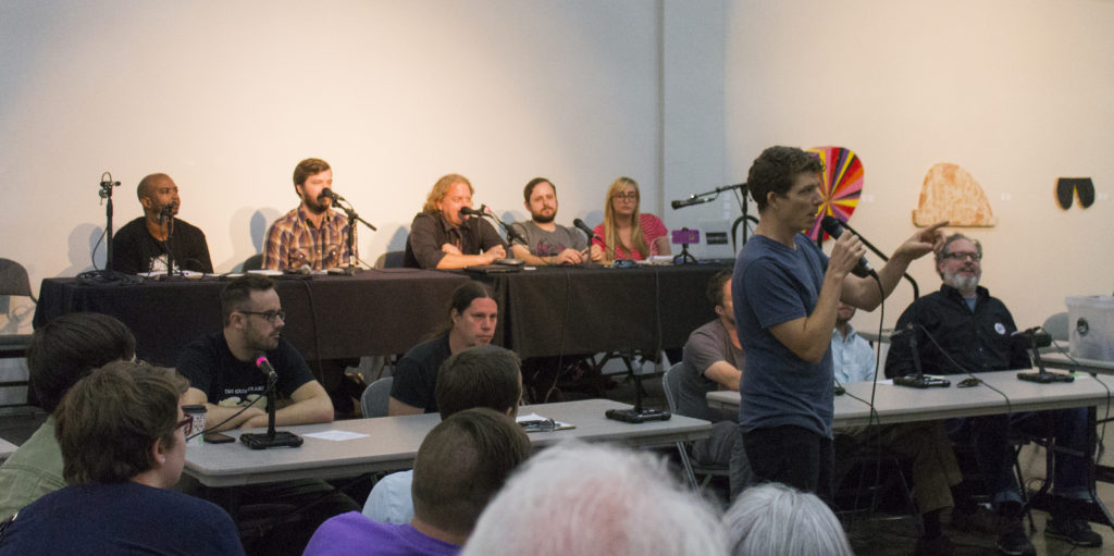 A citizen at music town hall speaks about the importance of music venues in Denton. The music town hall meeting was held on Monday at the Patterson Appleton Arts center.