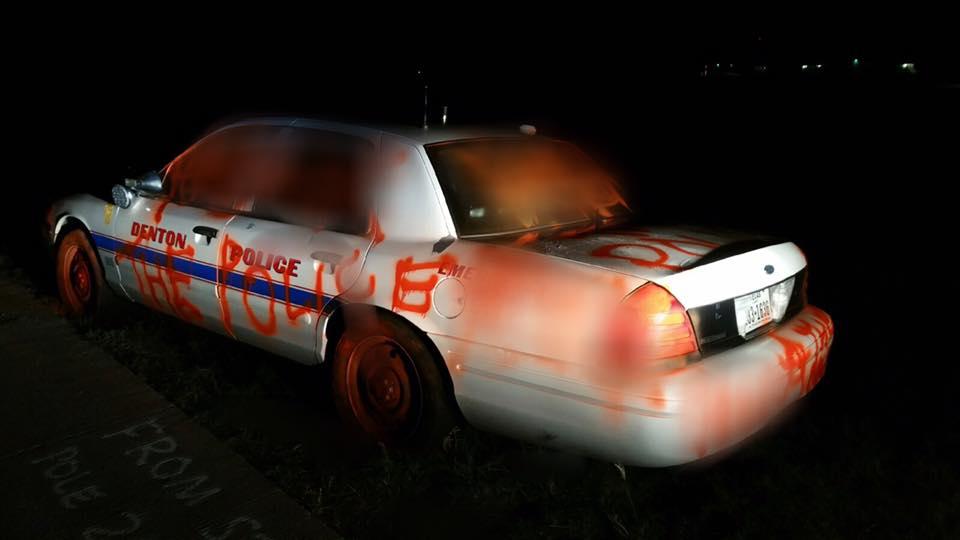 A Denton police car spray painted. Courtesy