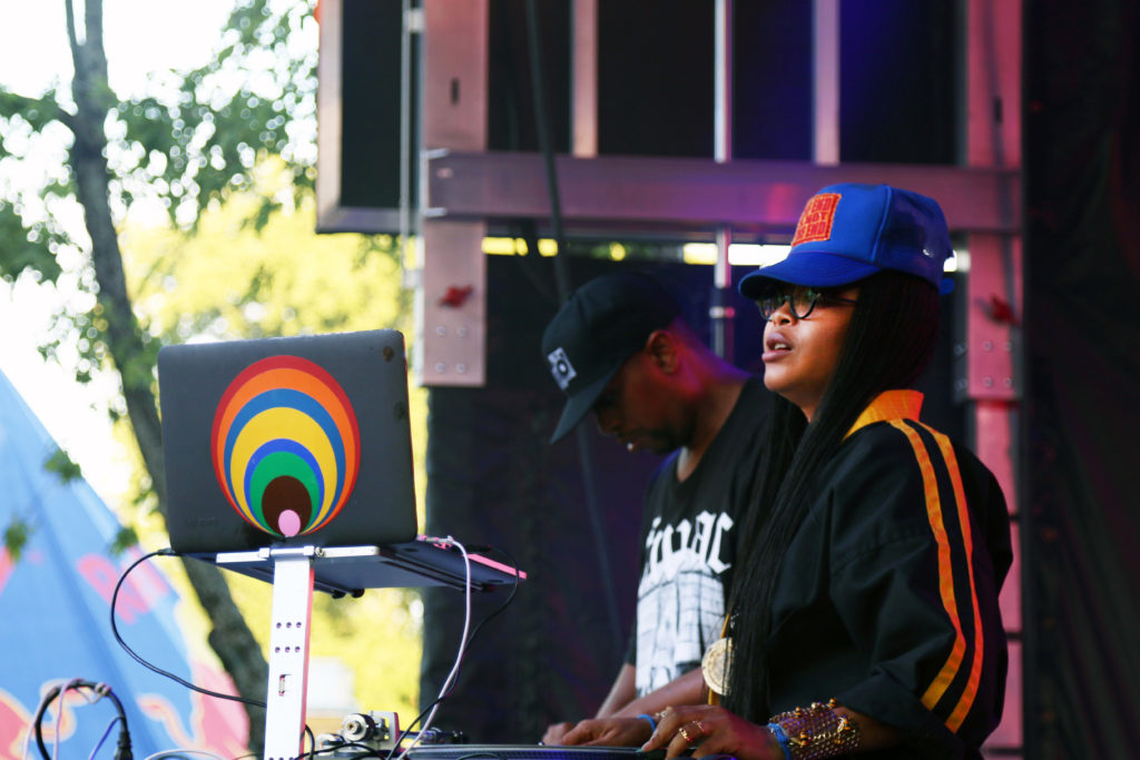 Lo Down Loretta Brown DJ's on the UNT stage at Oaktopia Fest.