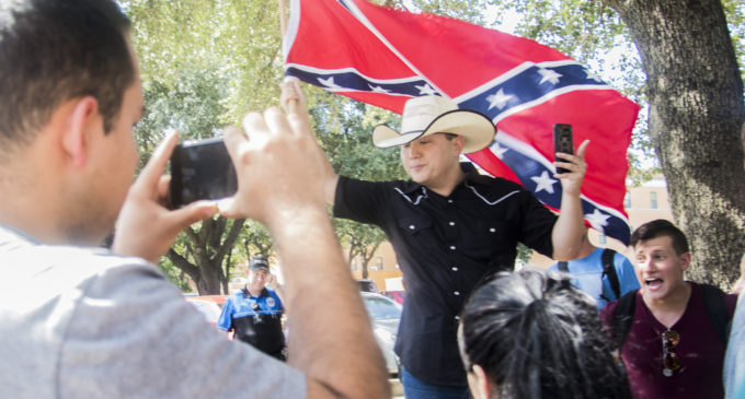 'Neo-Confederate' protester on campus riles up passing students