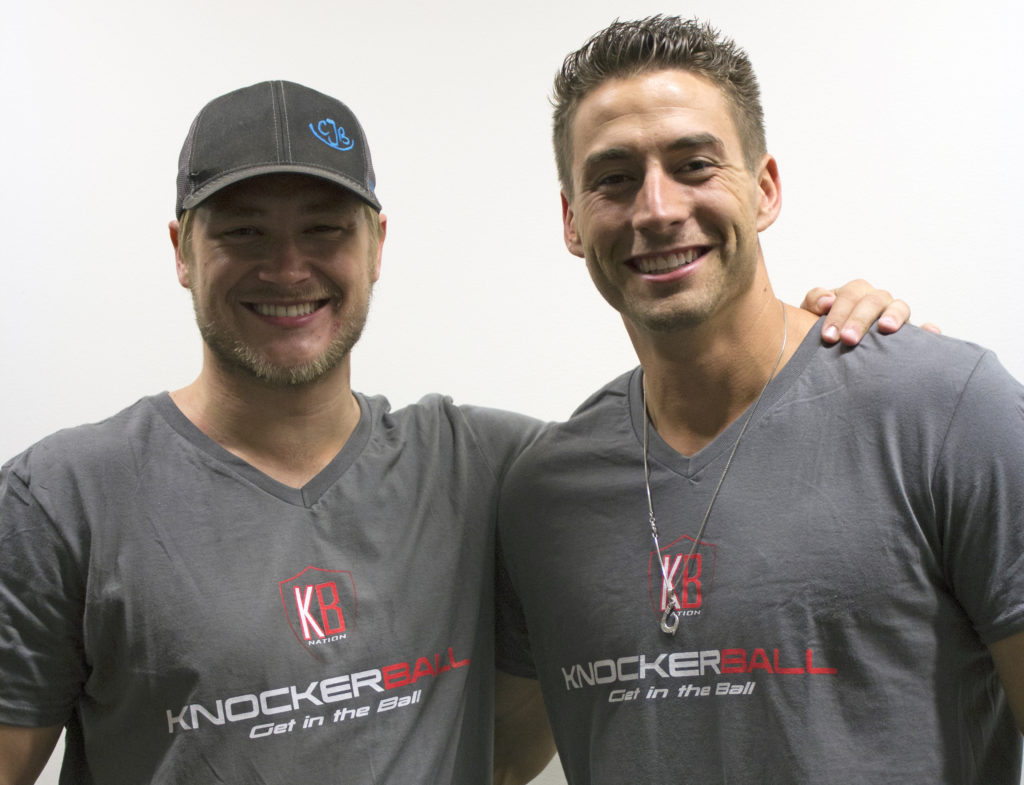 Austin Valente (right) and Gary Evans (left) own the knockerball franchise in Denton. They attend events where people can try the balls for themselves. They started with the franchise two months ago. Jennyfer Rodriguez