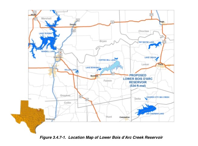 10/25/2016 BONHAM, TX The map shows the general location of the lake and where the proposed reservoir will be.The Bois d'Arc Creek Project is currently waiting on its construction permit to be approved. If approved, the project is anticipated to be completed in year 2020. Credit: Courtesy of Tom Kula - Executive Director of the project