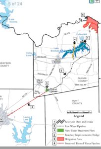 10/25/2016 BONHAM, TX A map shows the area where the proposed reservoir and the new pipeline construction will be.The Bois d'Arc Creek Project is currently waiting on its construction permit to be approved. If approved, the project is anticipated to be completed in year 2020. Credit: Courtesy of Tom Kula - Executive Director of the project