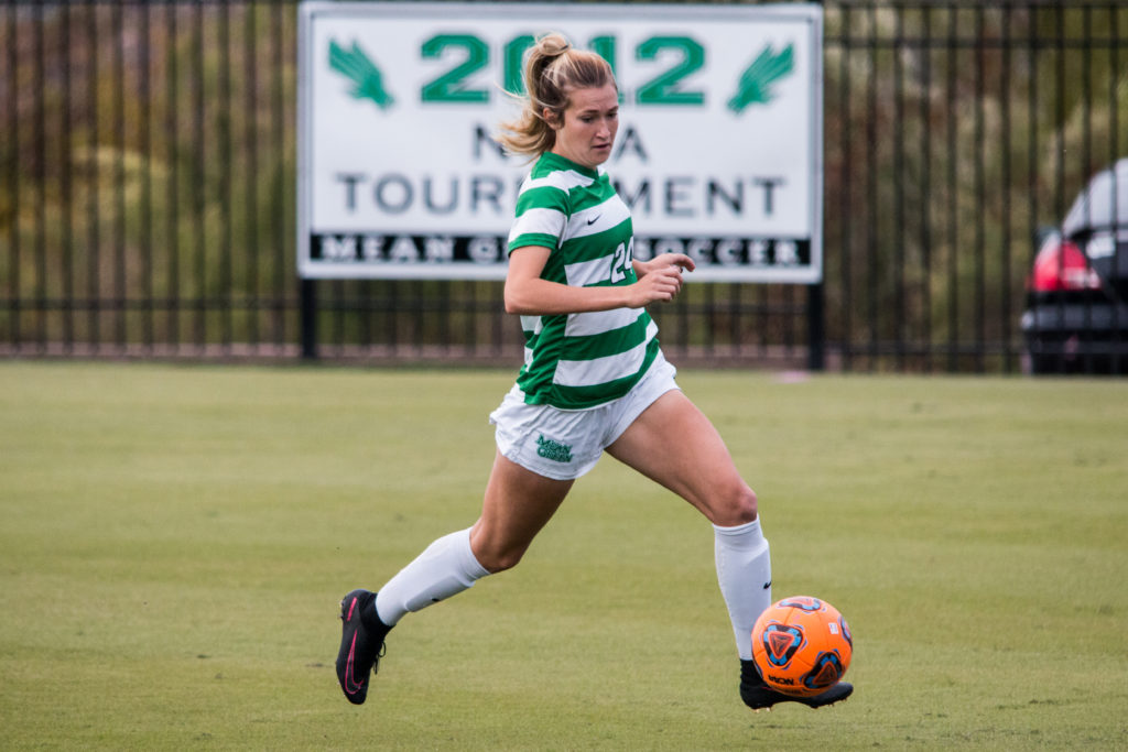North Texas junior defender Tori Phillips (24) turns upfield after gaining possession of a ball against Old Dominion on October 23. Dylan Nadwodny
