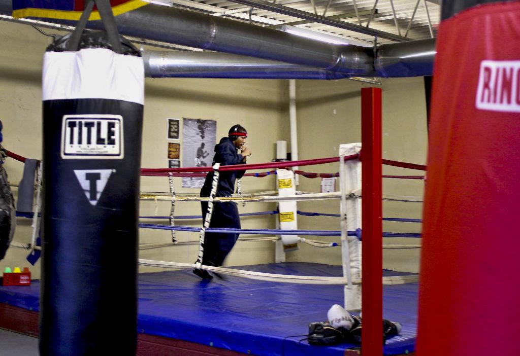Boxer Corey Richards works on his jab Friday at the Jimenez Old School Boxing Gym located off University Drive near TWU. Austin jackson