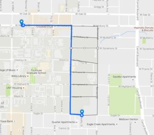 Possible routes from Event 1 to Event 2 between roughly 12:30 and 1 a.m. Graphic by Kyle Martin