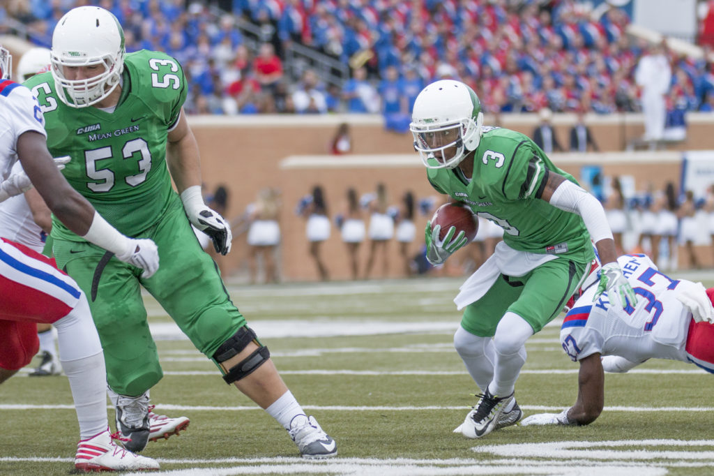 North Texas sophomore wide reciever Terian Goree (3) runs the ball near the sideline. Goree had one touchdown against the Bulldogs. Colin Mitchell