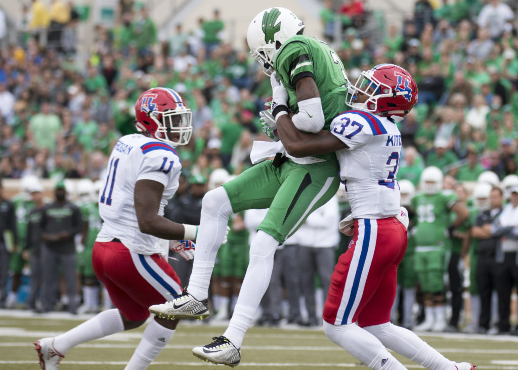 North Texas wide receiver Terian Goree (3) catches a pass in the red zone against Louisiana Tech. Colin Mitchell
