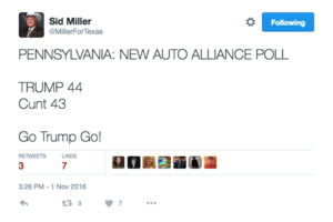 Screenshot of Texas Agriculture Commissioner Sid Miller's deleted tweet.
