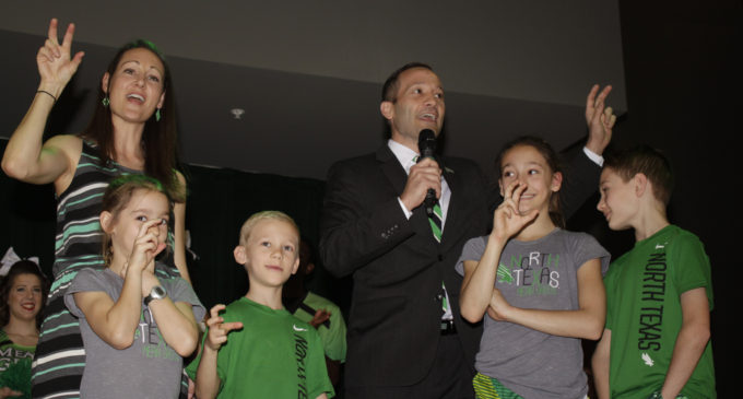 New men's basketball head coach Grant McCasland addresses students and UNT community at meet and greet