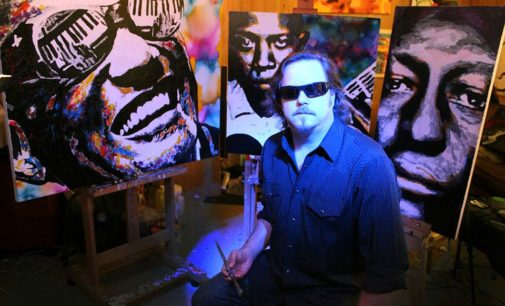 Blind artist's painting soars to new heights