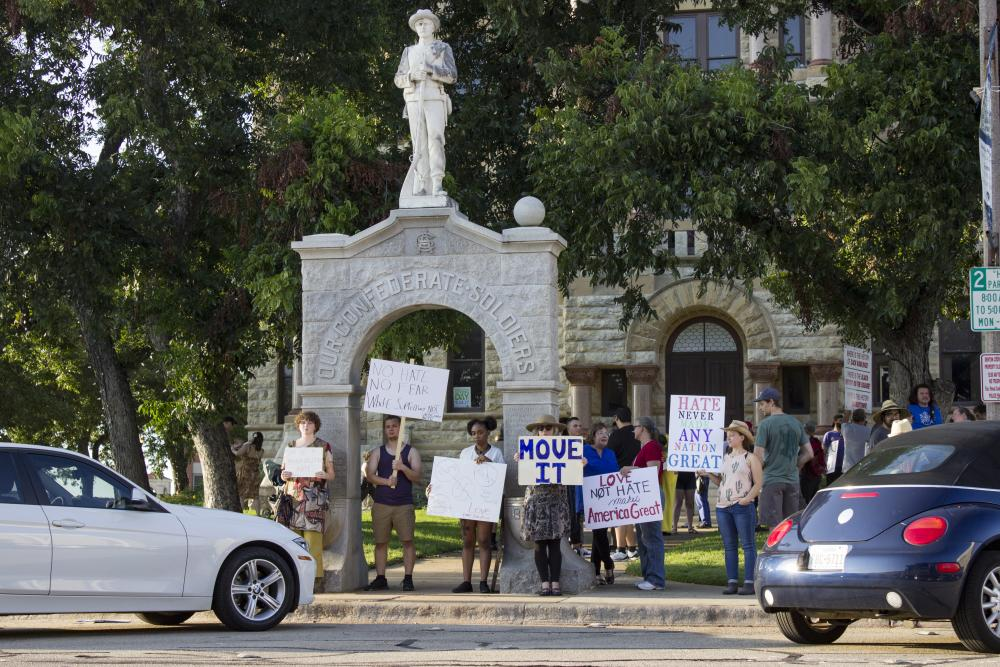 Denton activist leads protest of Confederate statue on the Square