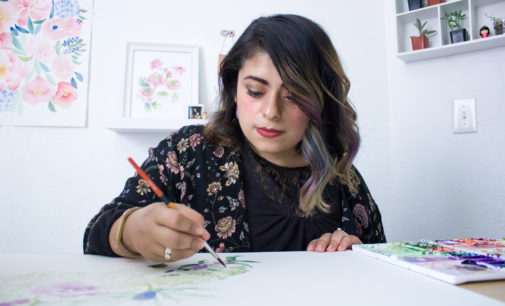 Watercolor painter diverts from the norm in her home studio