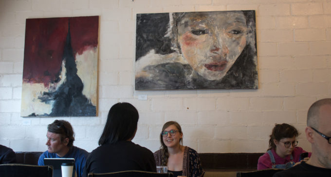 UNT student debuts vibrant, textured paintings at Aura Coffee