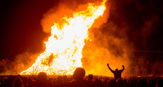 UNT spirit burns bright with homecoming bonfire, fireworks