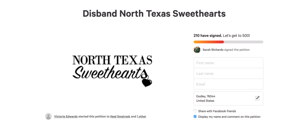 Petition to disband the North Texas Sweethearts reaches more than 200 signatures