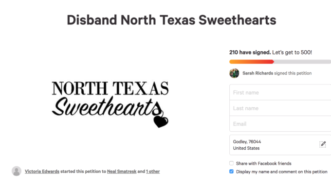 Petition to disband the North Texas Sweethearts reaches more than 250 signatures