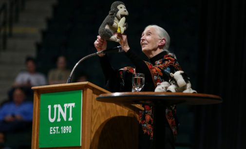 Jane Goodall discusses environmental conservation, asks young people to take charge in lecture at UNT