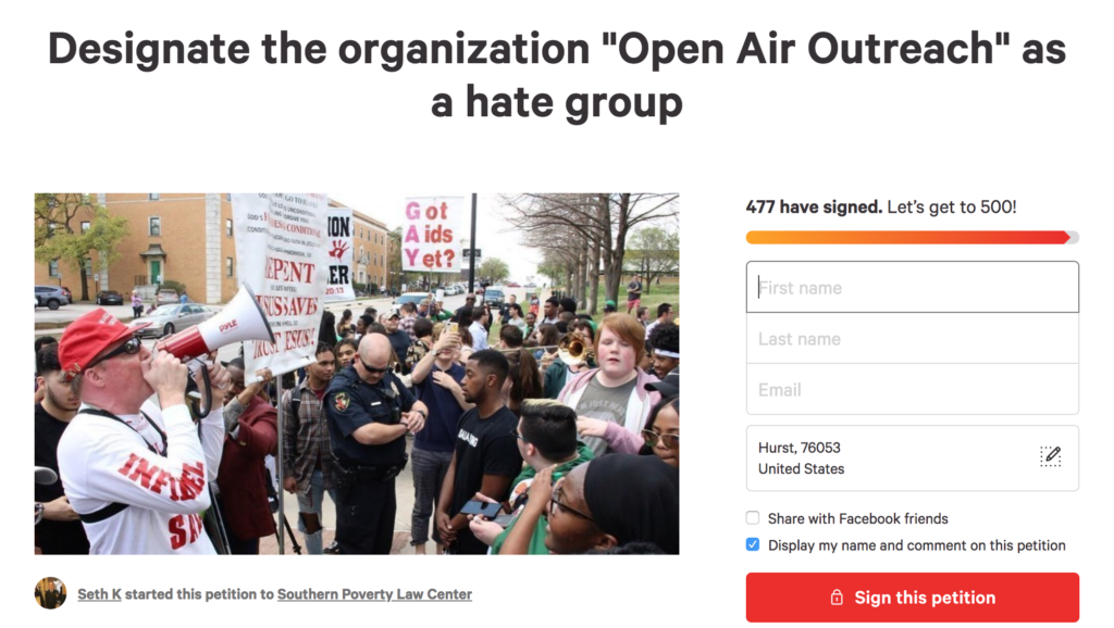 UNT student to petition SPLC to designate Open Air Outreach a hate group