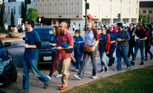 """Denton residents """"Take Back the Night"""" on the Square"""