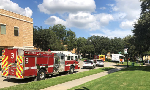 Brakes fail on UNT bus, causes an accident near GAB