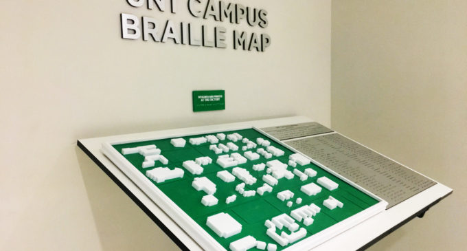 Student government, university union unveil campus braille map