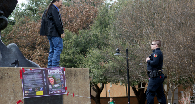 Denton author climbs Eagle statue to talk about his new book on the disappearance of a UNT student in 1997