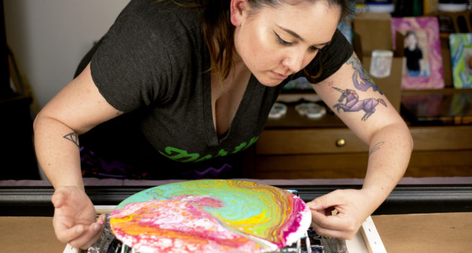 Pour-fessional artist mixes passion and color into new creations
