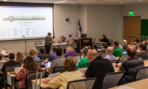 Faculty Senate hears updates on Avenue C, graduation and UNT on the Square at first fall semester meeting