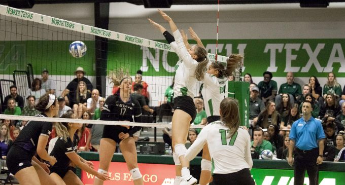 Mean Green volleyball win first road game in conference play
