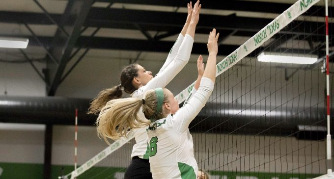 Mean Green volleyball attains a road victory against the 49ers
