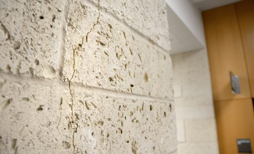 Cracks along BLB walls and columns not a concern, according to UNT Facilities