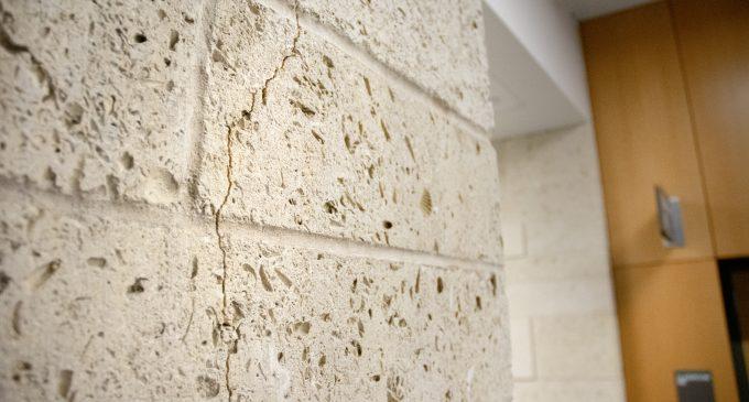 Cracks along BLB walls and columns not a concern, according to UNT Facilities