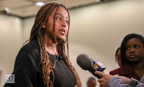 SGA President Yolian Ogbu speaks to Board of Regents Friday, calling for campus climate reforms