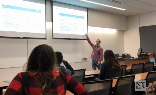 Environmental Protection Agency representative and UNT community garden give presentation on food waste