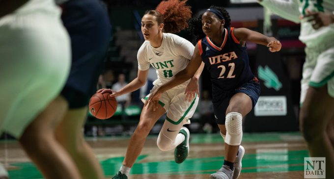 North Texas' Anisha George and Sharlene Shepherd combine for 50 points in a 94-55 victory over Texas-San Antonio