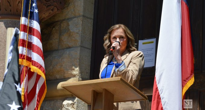Shelley Luther announces state Senate run at Denton Back the Blue rally